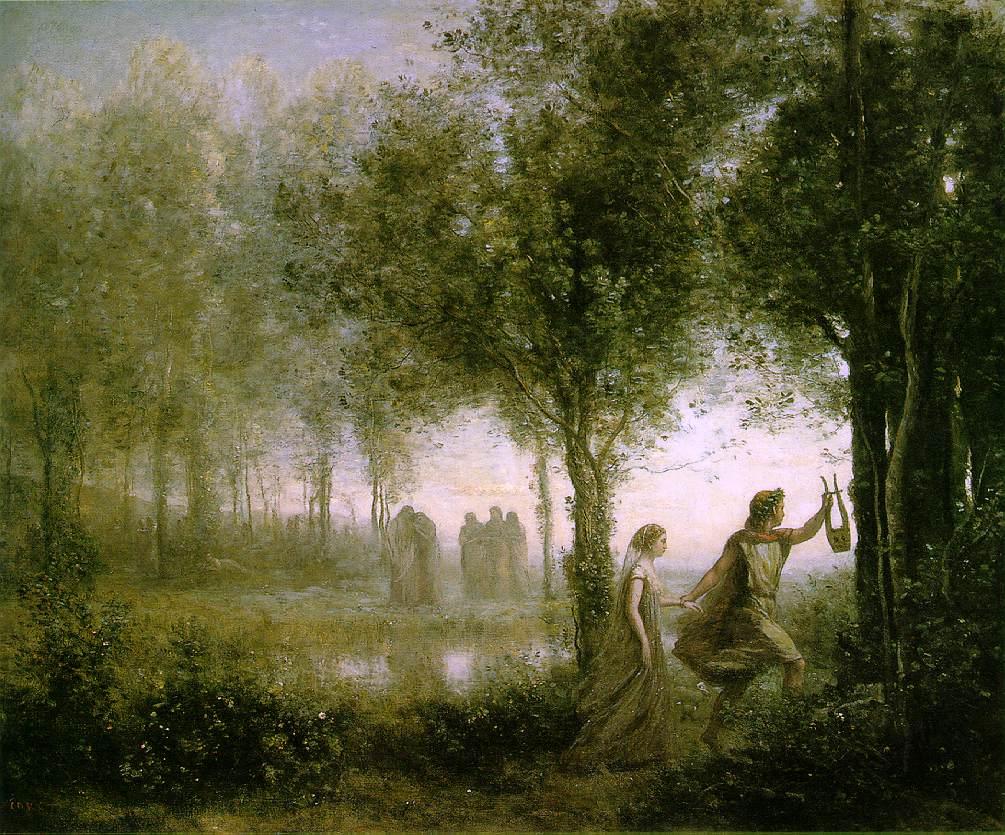 orphée ramenant eurydice des enfers - corot